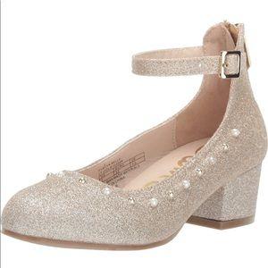 Sam Edelman Girls Gold Glitter Block Heel
